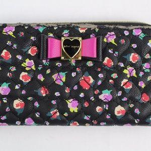 Betsey Johnson Black & Floral Print Wallet